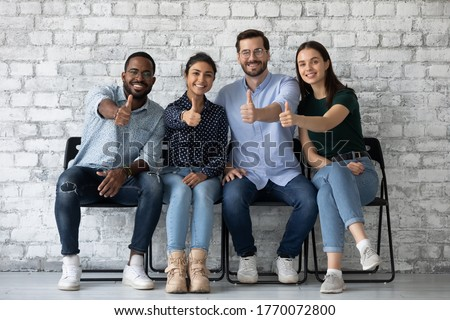 Applicants new employees passed job interview getting position in company showing thumbs up. Corporate staff excellent working conditions, clients great qualified services recommend, positive feedback