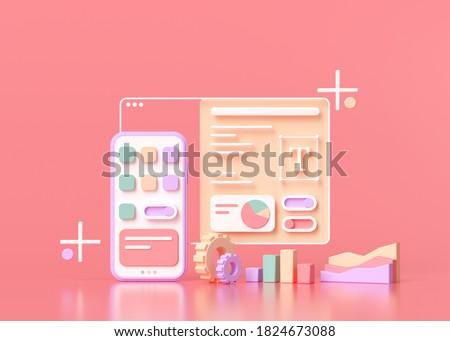 Application Development and UI-UX design Concept 3D render illustration