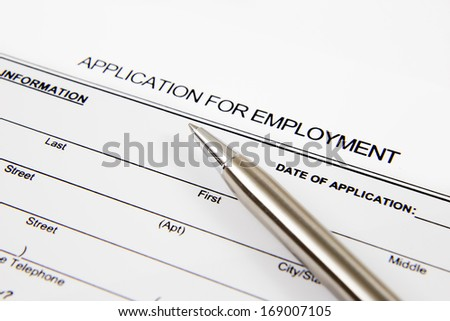 Application form concept for applying for a job