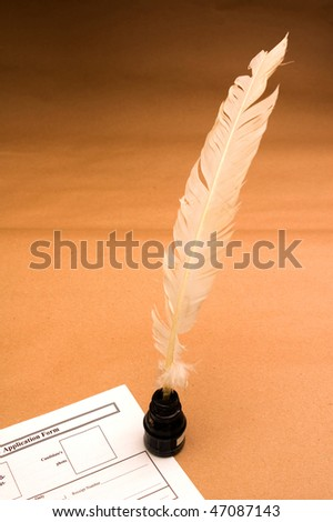 Application form with feather quill on parchment