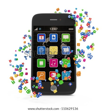 Application Icons around Touchscreen Smartphone isolated on white background