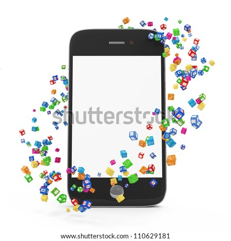 Application Icons around Touchscreen Smartphone with Blank Screen isolated on white background