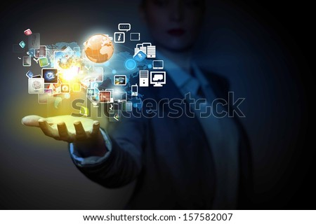 Application icons in human hand. Wireless technologies