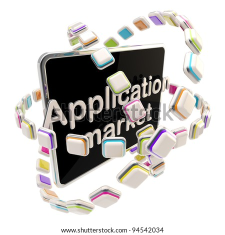 Application market emblem icon as a pad screen isolated on white