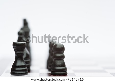 Application of chess strategy and tactics into business field concept - stock photo
