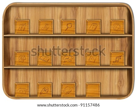 Application Wooden with application icons