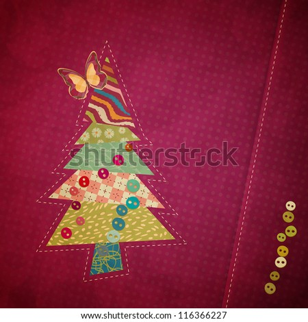 applique fabric Christmas tree with bow
