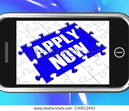 Apply Now On Smartphone Showing Job Applications And Recruitment