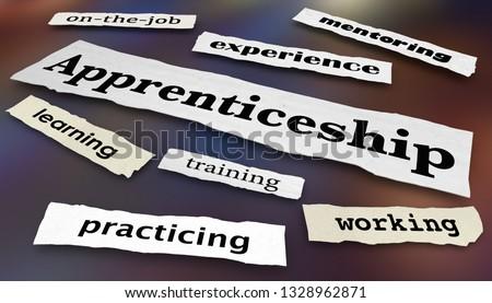 Apprenticeship Newspaper Headlines Work Skill Learning Programs 3d Illustration