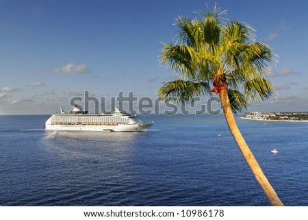 approaching cruise ship tropical island