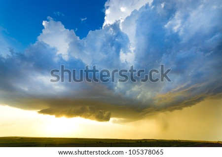 Approaching storm at the sunset