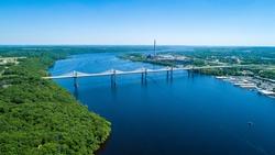 approaching the St. Croix Crossing bridge near Stillwater Minnesota on the St. Croix River