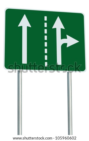 Appropriate traffic lanes at crossroads junction, right turn exit ahead, isolated green road sign, white arrows, EU european roadside signage, abstract alternative route choice metaphor