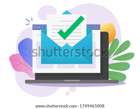 Approved email message notice check mark in document online on laptop computer or digital mail letter success confirmed application flat, concept of subscription newsletter or verified doc image