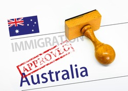 Approved Immigration Australia application form with rubber stamp