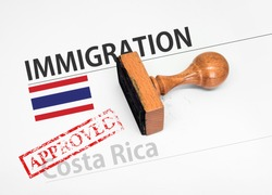 Approved Immigration Costa Rica application form with rubber stamp