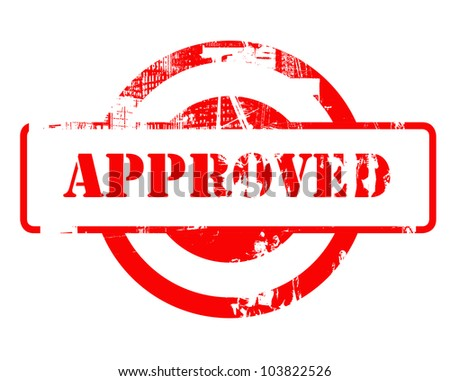 Approved red stamp with copy space isolated on white background.