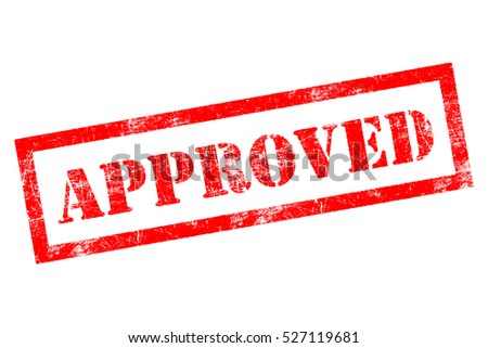 Approved stamp in red on white background
