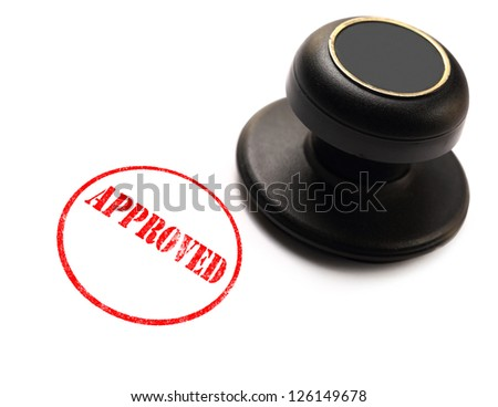 Approved stamp on white background