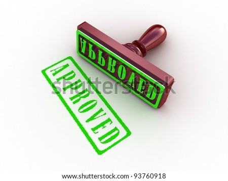 Approved stamp on white background, 3D images
