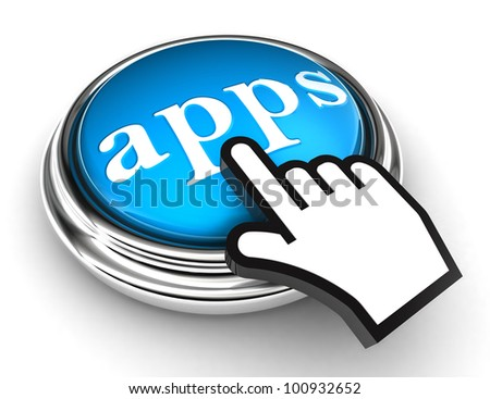 apps blue button and cursor hand on white background. clipping paths included