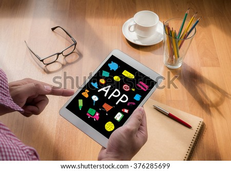 Apps concept, touch digital tablet, coffee #376285699