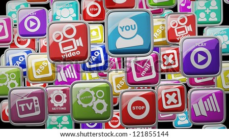 APPS icons abstract background High resolution 3d render - stock photo