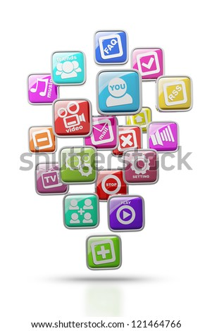 APPS icons isolated on white background High resolution 3d render