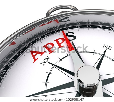 apps the way indicated by compass conceptual image.clipping path included