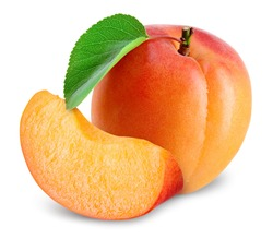 Apricot. Apricots isolate. Apricot with slice on white. Fresh apricot leaf. With clipping path. Full depth of field.