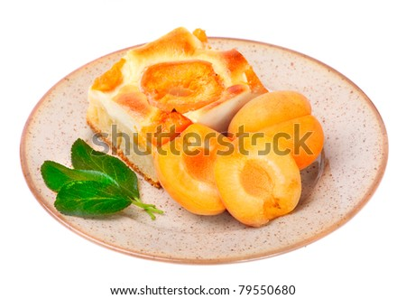 Apricot cake on a dessert plate.