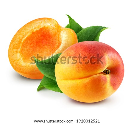 Apricot. Fresh organic apricot with leaves isolated on white background. Apricot with clipping path Сток-фото ©