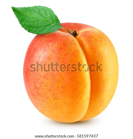 apricot fruits with green leaf isolated on white background Clipping Path Сток-фото ©