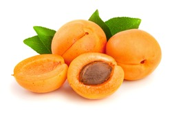 Apricot fruits with leaves isolated on white background macro