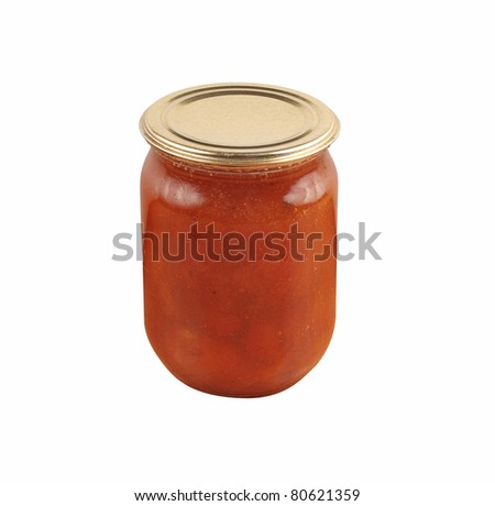 apricot home made jam in jar isolated over white background