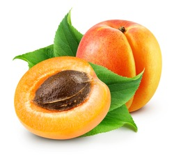 Apricot isolated on white background. Apricot Clipping Path. Fresh apricot fruits. Fresh half apricot fruits isolated on white background