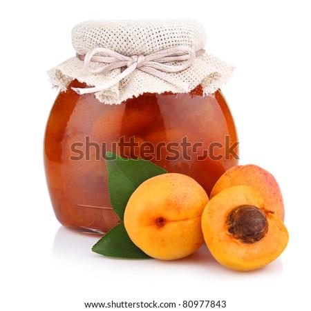 Apricot jam isolated on white background