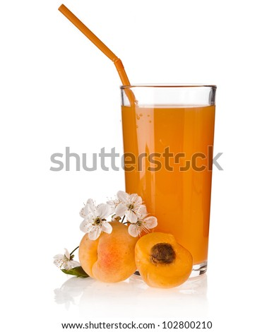 Apricot juice with fresh fruits, isolated on white