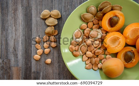 apricot kernel seed on a plate