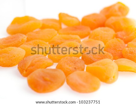 Apricot on white background. (Dried Apricots)