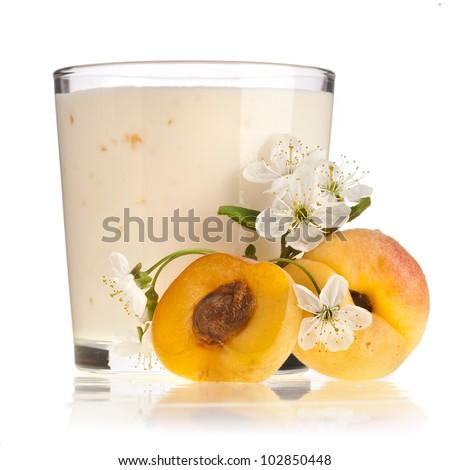 Apricot Smoothie - Fresh Fruits with Yogurt  isolated on white background