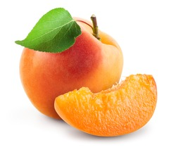 Apricots. Apricot isolate. Apricots with leaf and slice on white. Apricots leaf. With clipping path. Full depth of field.