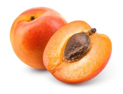 Apricots. Apricot isolate. Apricots with slice on white. Fresh apricots. With clipping path. Full depth of field.