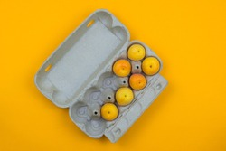 Apricots are in the egg Box on a yellow background.