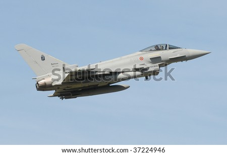 April 2008 Italian Air Force Eurofighter EF2000 Typhoon supersonic jet fighter aircraft takes-off from Decimomannu air base in Sardinia during Exercise Spring Flag