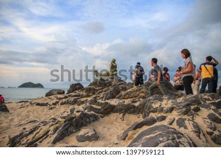 April, 2019 - Landmark of samila beach, Ole mermaid statues on the Samila Beach is a tourist attraction of the songkhla province, Thailand  #1397959121