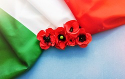 April 25 Liberation Day in italian,  Flower poppy and italy flag. selective focus image