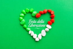 April 25 Liberation Day Text in italian card, italy flag colors national public holiday