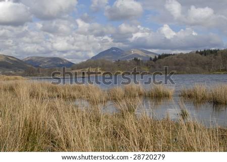 April 2009. Mountain Beinn Donachen in Glen Orchy, Scotland Seen across Loch Awe.