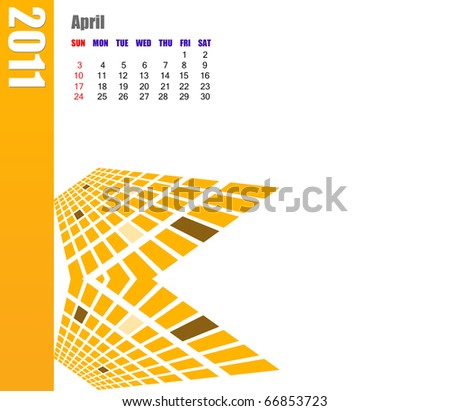 April of 2011 Calendar - stock photo